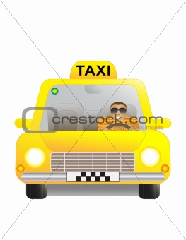 Taxi and driver.