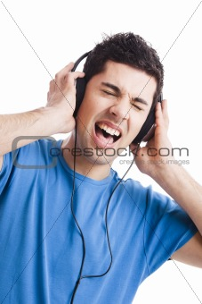 Young man listen music