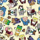 seamless animal worker pattern