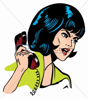 Angry Woman On Phone Retro Clip Art Comics Book style