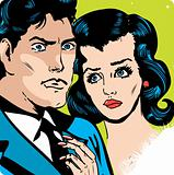 Man and woman love couple tag in popart comic book style