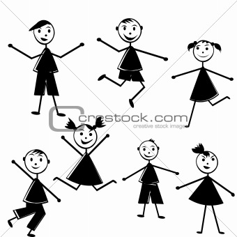 Black doodle kids on white background