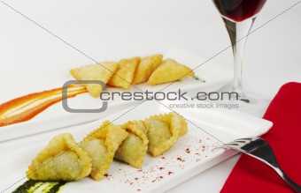 Appetizer: Empanada with Wine