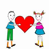 Pair of children holding a heart