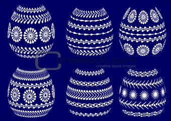 painted easter eggs - vector sihouette