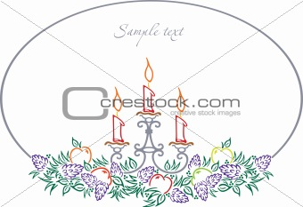 Candle With fruits. Vector