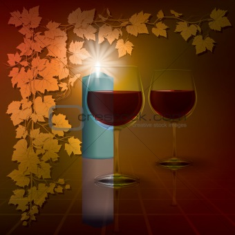 abstract illustration with candles and wineglass on red