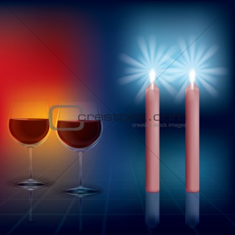 abstract illustration with candles and wineglass on dark