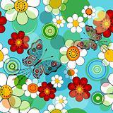 Vivid blue floral seamless pattern