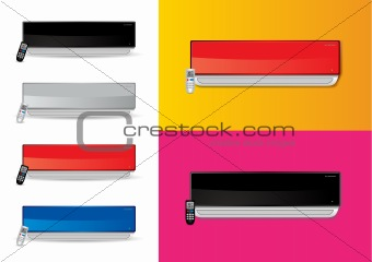Split air conditioners ac with remote - vector illustrations