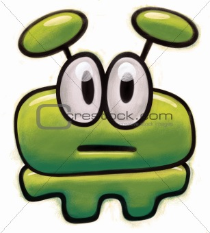 Green tiny childish figure of an Alien with big eyes looking at