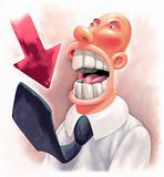 Horror-struck crazy Businessman with enormous throat. Red arrow
