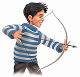 Young Archer with a bow and arrow
