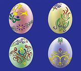 Four colored eggs