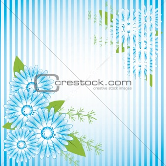 Abstract background with blue flowers