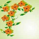 Abstract background with orange flowers