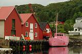 Pink Boat in Harbor