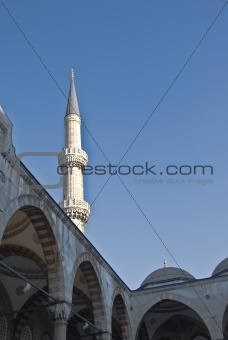 One of the white  minarets of the Blue Mosque