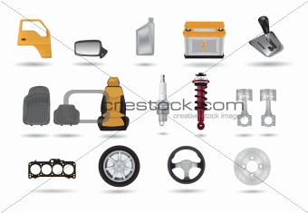 Detailed car parts illustrations set