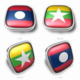 3d laos and myanmar flag button