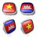 3d vietnam and cambodia flag button