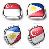 3d singapore and phillippines flag button