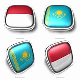 3d indonesia and kazakhstan flag button