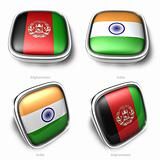 3d afghanistan and india flag button