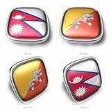 3d nepal and bhutan flag button