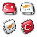 3d turkey and cyprus flag button