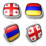 3d georgia and armenia flag button