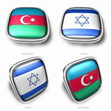 3d azerbaijan and israel flag button