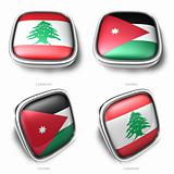 3d labanon and jordan flag button