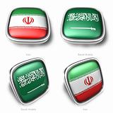 3d iran and saudi arabia flag button
