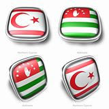 3d northern cyprs and abkhazia flag button