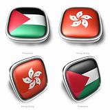 3d palestine and hongkong flag button