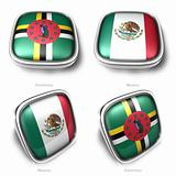 3d Dominica and Mexico flag button