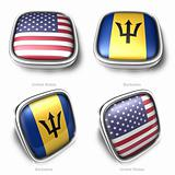 3d United States and Barbados flag button