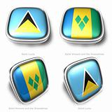 3d Saint Lucia and Vincent Grenadines flag button