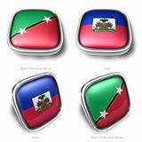 3d Saint Kitts and Nevis Haiti flag button