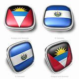 3d Antigua Barbuda and El Salvador flag button