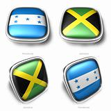3d Honduras and Jamaica flag button