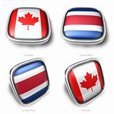 3d Canada and Costa Rica flag button