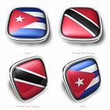 3d Cuba Trinidad Tobago flag button
