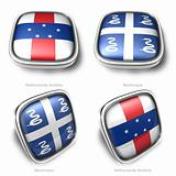3d Netherlands Antilles and Martinique flag button