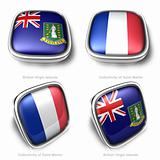 3d British Virgin Islands and Collectivity Saint Martin flag button