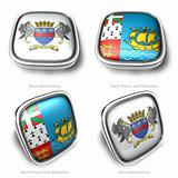3d Saint Barthelemy and Saint Pierre Miquelon flag button