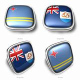 3d Aruba and Anguilla flag button