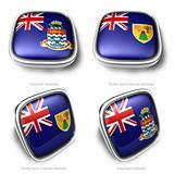 3d Cayman Islands and Turks Caicos Islands flag button