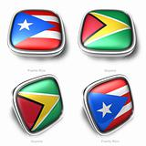 3d Puerto Rico and Guyana flag button